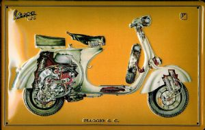 Vespa 125 CutOutembossed steel sign  (hi 3020)